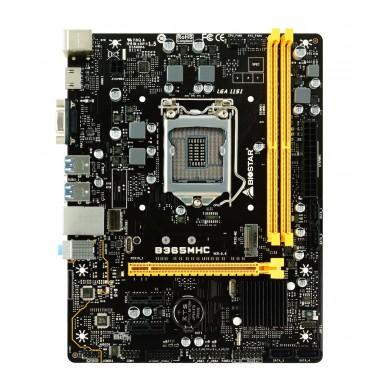Biostar B365MHC, Socket 1151, Intel® B365 (9th/8th Gen CPU), Dual 2xDDR4-2666, CPU Intel graphics, VGA, HDMI, 1xPCIe X16, 4xSATA3, RAID, 1xM.2 slot, 2xPCIe X1, 1XCOM header, ALC887 7.1HDA, GbE LAN, 6xUSB3.1, 95W, mATX