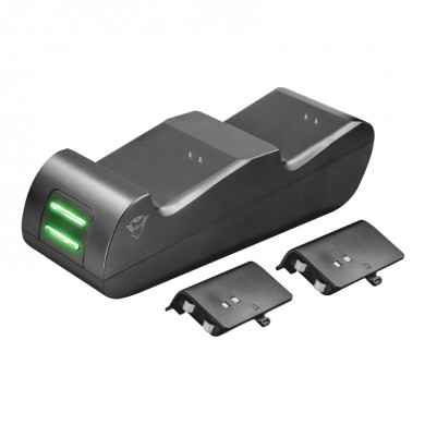 Trust Gaming GXT 247 Duo Charging Dock for Xbox One, Including 2 x 800mAh NiMH batteries, Charge up to 2 original game controllers at the same time, Power adapter