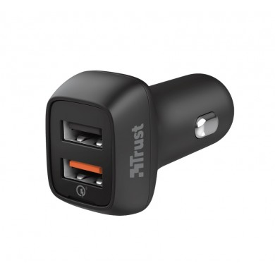 USB Car Charger - Trust Qmax 30W Ultra-Fast Dual USB Car Charger with QC3.0, Fast-charge with up to 12W power or ultra-fast charge with 18W power and QuickCharge 3.0, Total output power (max): A, W 30