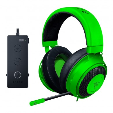 RAZER Kraken Tournament Edition Green / Gaming Headset, Retractable Microphone, featuring THX Spatial Audio for 360° sound, 50mm neodymium driver units, Ultra-durable Kevlar™ cable, compatible with devices with jack 3.5 mm, PS4, PC with USB