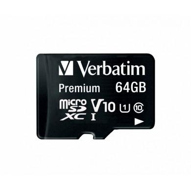 64GB microSD Class10 A1 UHS-I + SD adapter  Verbatim Premium microSDXC, 600x, Up to: 90MB/s
