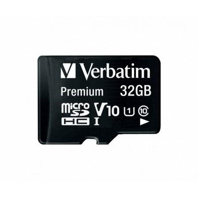 32GB microSD Class10 A1 UHS-I + SD adapter  Verbatim Premium microSDXC, 600x, Up to: 90MB/s