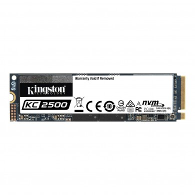 M.2 NVMe SSD 1.0TB Kingston KC2500, Interface: PCIe3.0 x4 / NVMe1.3, M2 Type 2280 form factor, Sequential Reads 3500 MB/s, Sequential Writes 2900 MB/s, Max Random 4k Read 375,000 / Write 300,000 IOPS, SMI 2262EN controller, 96-layer 3D NAND TLC