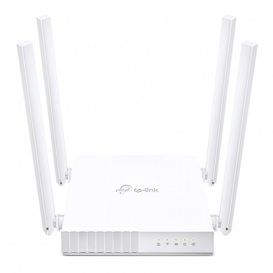 TP-LINK Archer C24  AC750 Dual Band Wireless Router, 433Mbps at 5GHz + 300Mbps at 2.4GHz, 802.11a/b/g/n/ac, 1 WAN + 4 LAN, Multi-Mode 3in1: Router / Access Point / Range Extender Mode, Wireless On/Off, 4 fixed antennas, Guest Network