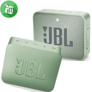 JBL Go 2 Mint / Bluetooth Portable Speaker, 3W (1x3W) RMS, BT Type 4.1, Frequency response: 180Hz – 20kHz, IPX7 Waterproof, Speakerphone, 730mAh rechargeable Lithium-ion battery,  3.5 mm jack audio input, Battery life (up to) 5 hr