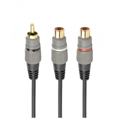 Audio cable RCA (M) to 2x RCA (F) - 0.2m - Cablexpert CCAP-RCAM2F-0.2M, Premium RCA (M) to 2x RCA (F) splitter cable, 0.2 m
