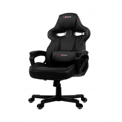 Gaming/Office Chair AROZZI Milano, Black/Black, PU Leather, max weight up to 90-95kg / height 160-180cm, Tilt Angle 12°, Fixed Armrests, Lumbar cushion, Wood Frame, Nylon wheelbase, Gas Lift 4class, Small nylon casters, W-20.5kg