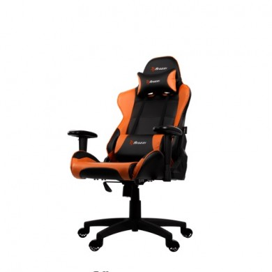 Gaming/Office Chair AROZZI Verona V2, Black/Orange, PU Leather, max weight up to 100-105kg / height 160-180cm, Recline 165°, 1D Armrests, Head and Lumber cushions, Metal Frame, Nylon wheelbase, Gas Lift 4class, Small nylon casters, W-25.5kg