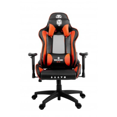 Gaming/Office Chair AROZZI Verona WoT Edition, Black/Orange World of Tanks merch, PU Leather, max weight up to 100-105kg / height 160-180cm, Recline 165°, 1D Armrests, Head/Lumber cushions, Metal Frame, Nylon wheelbase, Small nylon casters, W-25.5kg
