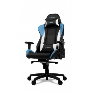 Gaming/Office Chair AROZZI Verona Pro V2, Black/Blue/White, PU Leather, max weight up to 120-130kg / height 165-190cm, Recline 165°, 1D Armrests, Head and Lumber cushions, Metal Frame, Nylon wheelbase, Gas Lift 4class, Large  nylon casters, W-25.5kg