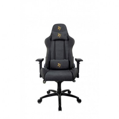 Gaming/Office Chair AROZZI Verona Signature Soft Fabric, Black /Gold logo, Soft Fabric, max weight up to 120-130kg / height 165-190cm, Recline 165°, 4D Armrests, Head and Lumber cushions, Metal Frame, Nylon wheelbase, Small casters, W-28.3kg