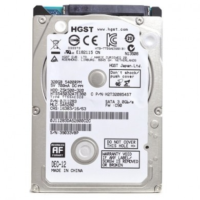 "2.5"" HDD 320GB  Hitachi Travelstar Z5K500, 5400rpm, 8MB, 7mm, SATAII (HGST HTS545032A7E380), FR"