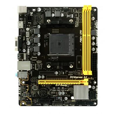 Biostar A68MHE, Socket FM2/FM2+, AMD A68H, Dual 2xDDR3-2600, APU AMD graphics, VGA, HDMI, 1xPCIe X16, 4xSATA3(6Gb/s), RAID, 1xPCIe X1, ALC662 5.1ch HDA, GigaBit LAN, 2xUSB3.2, 100W,  mATX