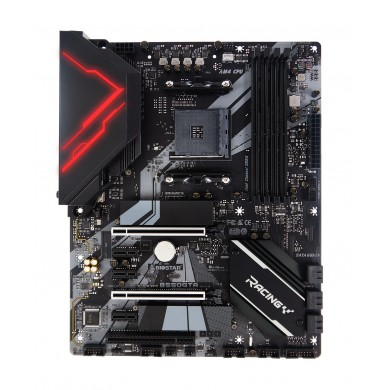 Biostar Racing B550GTA, Socket AM4, AMD B550, Dual 4xDDR4-4933+, APU AMD graphics, DVI, HDMI, DP, 2xPCIe4.0 X16, 6xSATA3, RAID, 2x M.2 Gen4 x4(64Gb/s), 3xPCIe3.0 X1, 1xPCI, ALC1150 7.1 HDA, 2.5GbE LAN, 6xUSB3.2, 2xTypeC+A 3.2 Gen2, Vivid LED, ATX