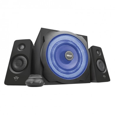 Trust Gaming GXT 628 Tytan 2.1 Illuminated Speaker Set, Pulsating LED illuminated subwoofer. 120w  - Black