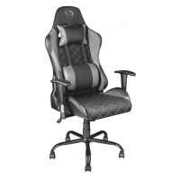 Trust Gaming Chair GXT 707G Resto, Height adjustable armrests, Class 4 gas lift, 90°-180° adjustable backrest, Strong and robust metal base frame, Including removable and adjustable lumbar and neck cushion, Durable double wheels, up to 150kg, Grey