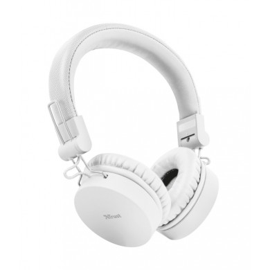 Trust Tones Bluetooth Wireless Headphones, 40mm drivers, 25 hours playtime on a single charge, included 3.5mm cable, White