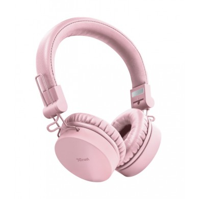 Trust Tones Bluetooth Wireless Headphones, 40mm drivers, 25 hours playtime on a single charge, included 3.5mm cable, Pink
