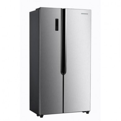 Refrigerator Heinner HSBS-H430NFX+, Inox, Total vol. - 436L, 176 x 57 x 91cm, Ref/Freezer vol. - 291L/145L, Full NoFrost/Open door alarm/Child lock/SMART func.,  Class A+, LED Touch display, LED light