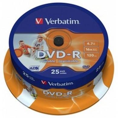 Verbatim DataLifePlus DVD-R AZO 4.7GB 16X WIDE PRINTABLE SURFAC - Spindle 25pcs.