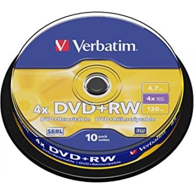 Verbatim DataLifePlus DVD+RW SERL4.7GB 4X MATT SILVER SURFAC - Spindle 10pcs.