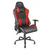 Trust Gaming Chair GXT 707G Resto, Height adjustable armrests, Class 4 gas lift, 90°-180° adjustable backrest, Strong and robust metal base frame, Including removable and adjustable lumbar and neck cushion, Durable double wheels, up to 150kg, Red