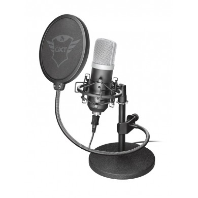 Trust Gaming GXT 252 Emita Streaming Microphone, USB connection, Including heavy weight metal stand, high-end shock mount and large, double-screen pop filter, aluminum flightcase for safe storage, 1.8m USB cable