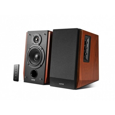 """Edifier R1700BTs Brown Wood, 2.0/ 66W (2x33W) RMS,  Audio in: Bluetooth 5.0 with Qualcomm aptX & 2 analog (RCA), Subwoofer output, remote control, wooden, (4""""+3/4"""")"""