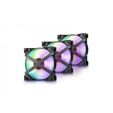 "120mm Case Fan - DEEPCOOL ""MF120 GT""  3x RGB LED 120x120x26.5mm, 500-1800rpm, <28dBa, 48.3 CFM, Hydro Bearing, 4Pin, PWM, 12V RGB 4-pin port, Addressable RGB LED"