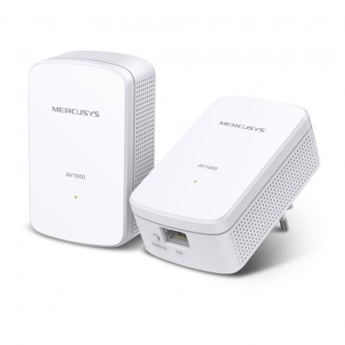 MERCUSYS  MP500KIT, AV1000 Powerline Adapter Starter Kit, Compact Size, 1000Mbps Powerline Datarate, 2 Gigabit LAN Port, HomePlug AV, Green Powerline,  Plug and Play, Pair Button, Range 300 meters in house
