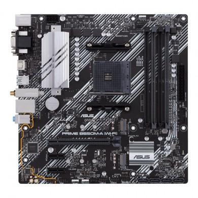 ASUS PRIME B550M-A Wi-Fi, Socket AM4, AMD B550, Dual 4xDDR4-4600, APU AMD graphics, VGA, DVI, HDMI, 1xPCIeX16 4.0, 4xSATA3, RAID, 2xM.2 4.0 slot, 2xPCIeX1, ALC887 HDA, 1xGbE LAN, WiFI6/BT5.1, 2xUSB3.2 Gen 2, 6xUSB3.2, Aura Sync RGB, 5X Pro.III, mATX