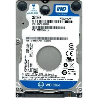 """2.5"""" HDD 320GB  Western Digital WD3200LPVT, Scorpio Blue™, 5400rpm, 8Mb, 7mm, SATAIII, FR"""
