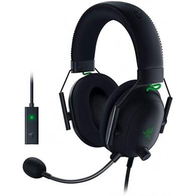 RAZER  BlackShark V2 Gaming Headset, HyperClear Cardioid Mic with USB Sound Card, 50mm neodymium driver units, Ultra-soft FlowKnit memory foam ear cushions, Connectivity – 3.5mm jack + USB sound card, THX Spatial Audio, Black