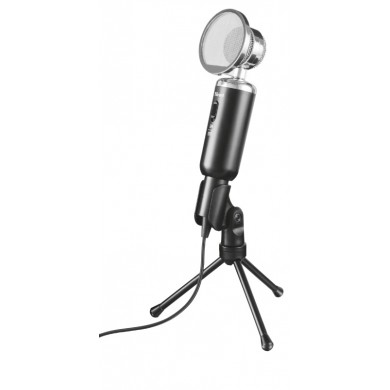 Trust Madell Desk Microphone for PC and laptop, High performance, vintage-style desktop microphone on tripod stand, 2.5m cable with 3.5mm plug