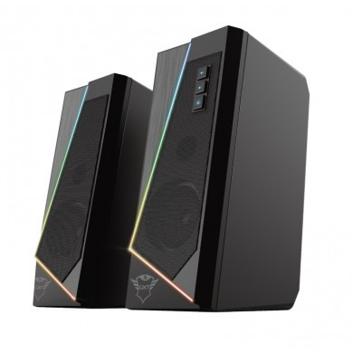 Trust Gaming GXT 609 Zoxa RGB Illuminated Speaker Set, 12W, Stylish stereo speaker set with RGB Lighting and easy to reach controls, Black