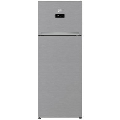 Refrigerator Beko RDNE505E30ZXBN, Silver,  Total volume - 505L, 185x70x70.5cm, Refrigerator/Freezer volume - 347L/103L, Full NoFrost, Class - A++, Display , Up Freezer