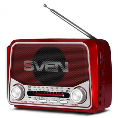 SVEN SRP-525 Red, FM/AM/SW Radio, 3W RMS, 8-band radio receiver, built-in audio files player from USB-fash, microSD and SD card storage devices, telescopic swivel antenna, built-in battery