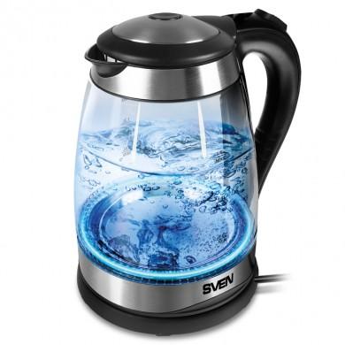 Electric kettle SVEN KT-G1813, black (glass body, 1.8 L, 1850-2200 W, inner light)