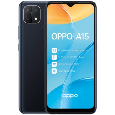 "OPPO A15 EU 32GB Black, DualSIM, 6.52"" 720x1600 IPS, Helio P35, Octa-Core 2.35GHz, 2GB RAM, microSD (dedicated slot), 13MP+2MP+2MP/5MP, LED flash, 4230mAh, WiFi-N/BT5.0,  Android 10 (ColorOS 7.2)"