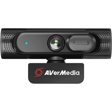 AverMedia HD 1080p Wide Angle Webcam - PW315: USB 2.0 FHD 1080p 60fps Webcam, Ultra-wide 95° FOV, 2MP CMOS sensor, 360-Rotation, Privacy Shutter, Flexible Mounting, Fixed Focus, Dual Stereo microphones, Cable length: 1.5m