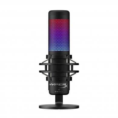 HyperX QuadCast S, RGB Microphone for the streaming, Anti-Vibration shock mount, Tap-to-Mute sensor with LED indicator, Four selectable polar patterns, Internal pop filter, Built-in headphone jack, Cable length: 3m, Black/Red, USB