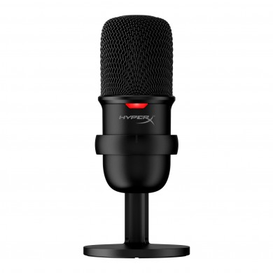 HyperX SoloCast, Microphone for the streaming, Sampling rates: 48 / 44.1 /32 / 16 / 8 kHz, 20Hz-20kHz, Tap-to-Mute sensor with LED indicator, Flexible, Adjustable stand, Cardioid polar pattern, Boom arm and mic stand, Cable length: 2m, Black, USB