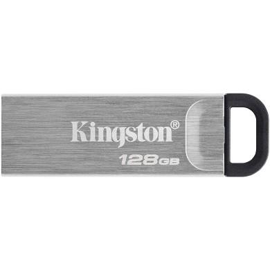 128GB USB3.2  Kingston DataTraveler Kyson Silver, Metal casing, Compact and lightweight (Read 200 MByte/s, Write 60 MByte/s)