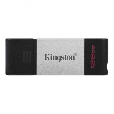 128GB USB-С3.2  Kingston DataTraveler 80, Black/Silver, USB-C, Cap design, Stylish and slim metal & plastic casing fits, Keyring Loop (Read 200 MByte/s, Write 60MByte/s)