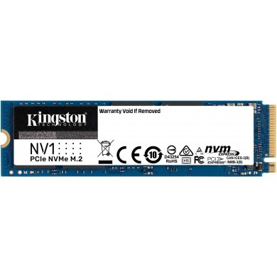 M.2 NVMe SSD 2.0TB Kingston NV1, Interface: PCIe3.0 x4 / NVMe1.3, M2 Type 2280 form factor, Sequential Reads 2100 MB/s, Sequential Writes 1700 MB/s, Max Random 4k Read 290,000 / Write 280,000 IOPS, Phison PS5013-E13 controller, 480TBW, 3D NAND QLC