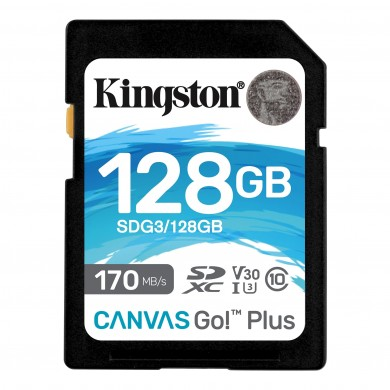 128GB SD Class10 UHS-I U3 (V30)  Kingston Canvas Go! Plus, Read: 170MB/s, Write: 70MB/s, Ideal for DSLRs/Drones/Action cameras