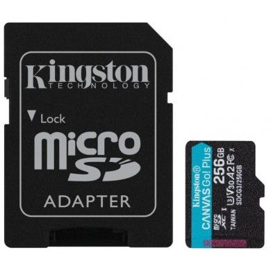 256GB microSD Class10 UHS-I U3 (V30) Kingston Canvas Cangas Go Plus, Ultimate, Read: 170Mb/s, Write: 90Mb/s, Ideal for Android mobile devices, action cams, drones and 4K video production