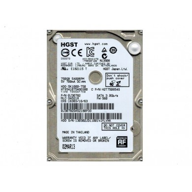 "2.5"" HDD 750GB  Hitachi Travelstar 7K1000, 7200rpm, 32MB, 9.5mm, SATAIII (HTS721075A9E630), FR"