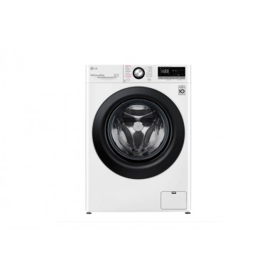 Washer LG F2V3GS6W, White/Black, Max load - 8.5kg, Max speed - 1200rpm, 85x60x55cm, Depth - 55cm, Inverter/Steam, Download Type - front, Class - A, Display,  14 programm