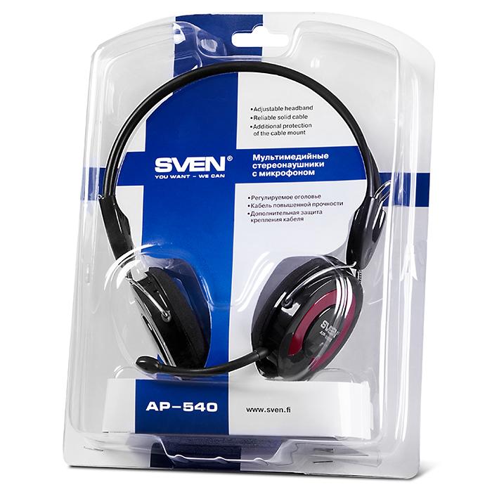 SVEN AP-540, Headphones with microphone, Volume control, 2.2m, Black
